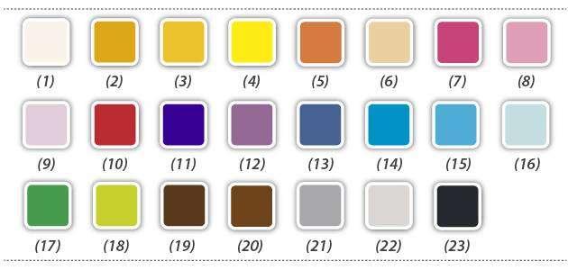 Paleta de colores de las pastillas