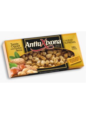 Caja de 12 unidades de Turrón Crocant con Frutos Secos Antiu Xixona Etiqueta Negra 150g