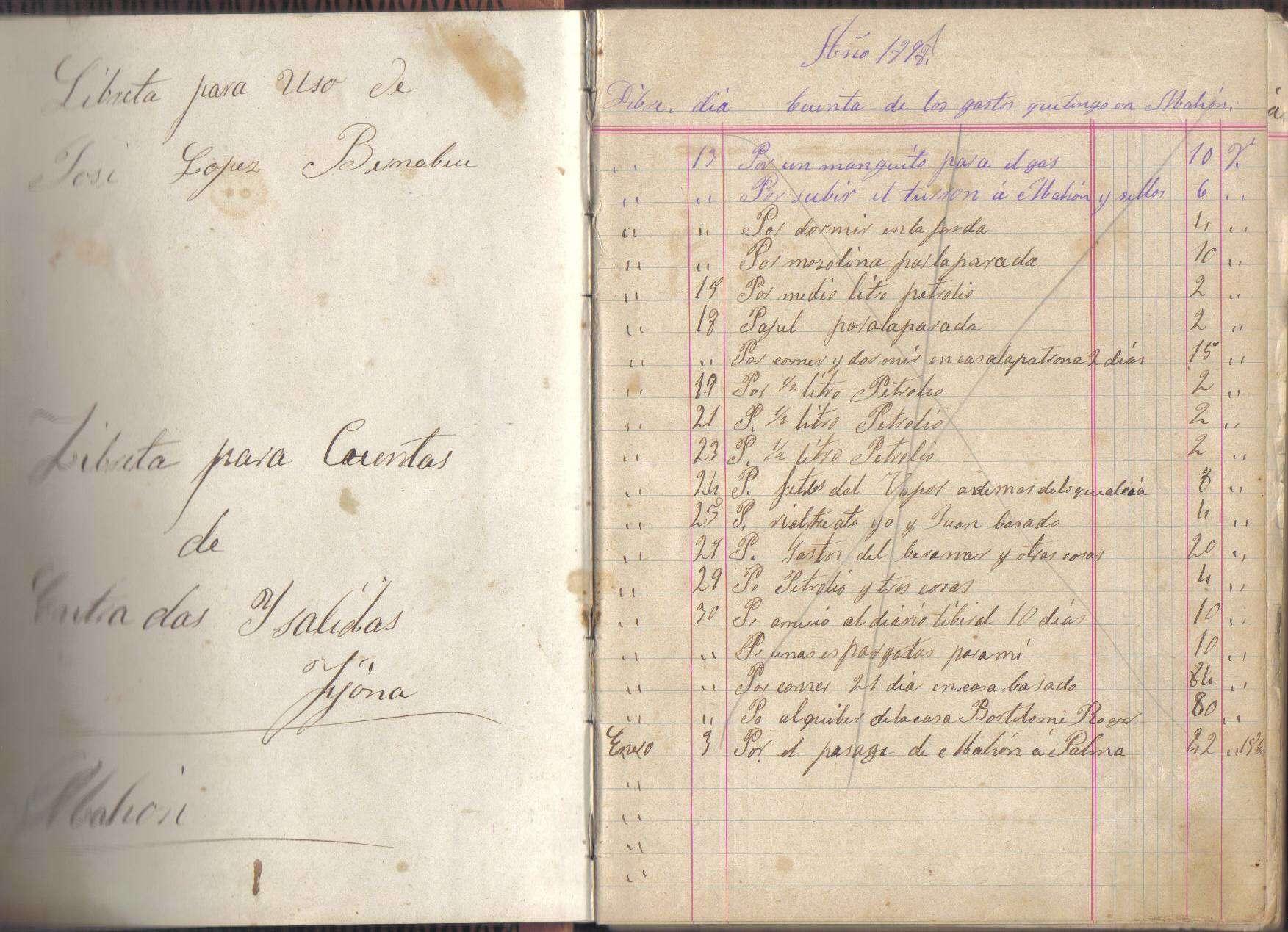 Libreta de 1898 de un turronero