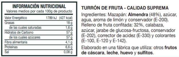 Información Nutricional Turrón de Fruta