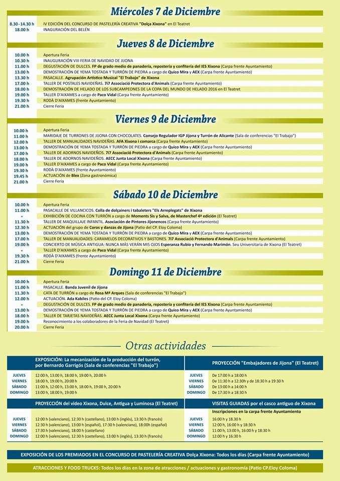 Calendario eventos feria de navidad 2016