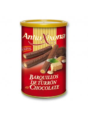 Caja de 12 latas de Barquillos de Turrón al Chocolate Antiu Xixona