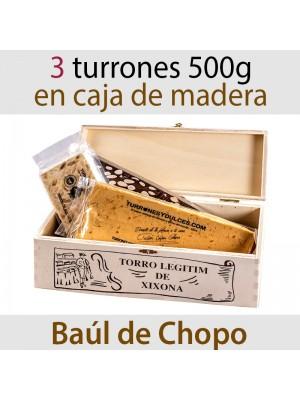 Lote de 3 Turrones en Baúl de Madera Barra Catalana