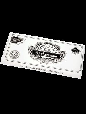 Chocolate puro al 70% cacao con almendras 150grs marca El Artesano