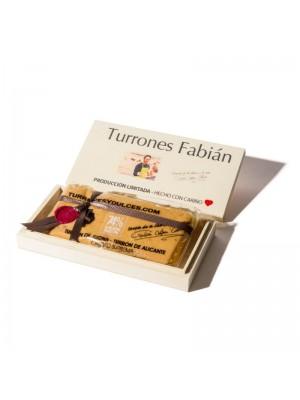 Turrón de Jijona Gourmet 74% en caja de madera a color - Turronesydulces.com - 300g.