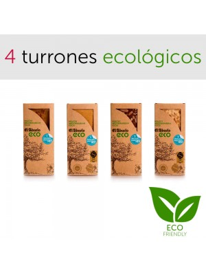 Pack 4 turrones ecológicos Jijona Alicante piedra chocolate con almendras