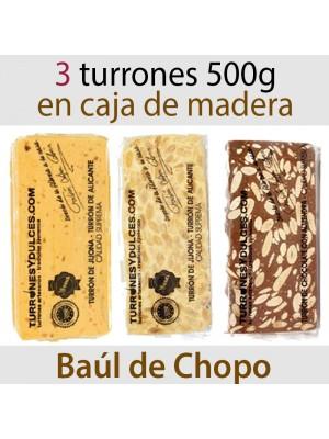 Lote de 3 Turrones en Caja de Madera 500 gramos