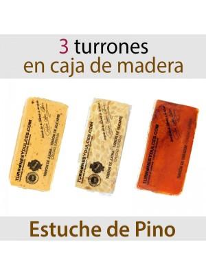 Lote de 3 Turrones en Estuche de Madera