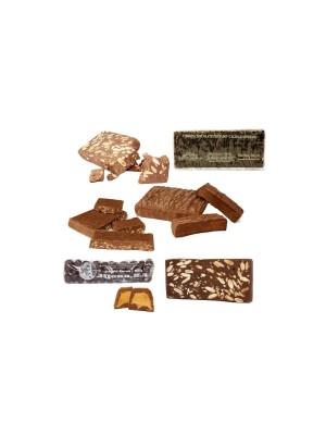 Lote Chocolatero. 7 turrones y peladillas de chocolate selección.