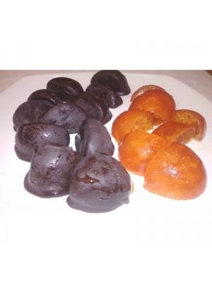 Cuartos de mandarina con Chocolate Negro a granel en formato de 1kg o 5kg.