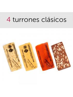 Pack de turrones clásicos: Jijona (blando), Alicante (duro), Yema Tostada y turrón de Chocolate con Almendras (con leche o puro)