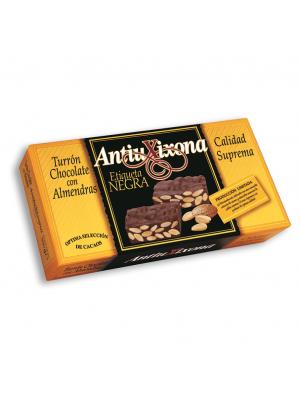 Caja de 12 unidades de Turrón de Chocolate con Almendras Antiu Xixona Etiqueta Negra 300g