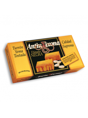 Caja de 12 unidades de Turrón de Yema Tostada Antiu Xixona Etiqueta Negra 300g
