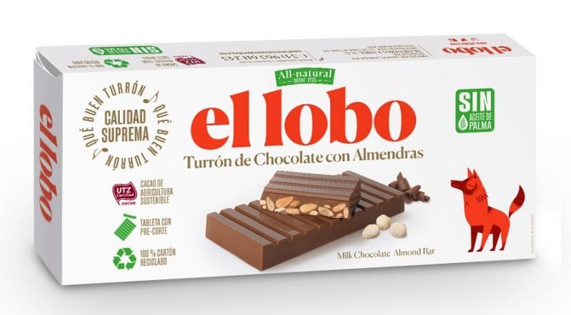 Turrón de chocolate con almendras - El Lobo - 250 g