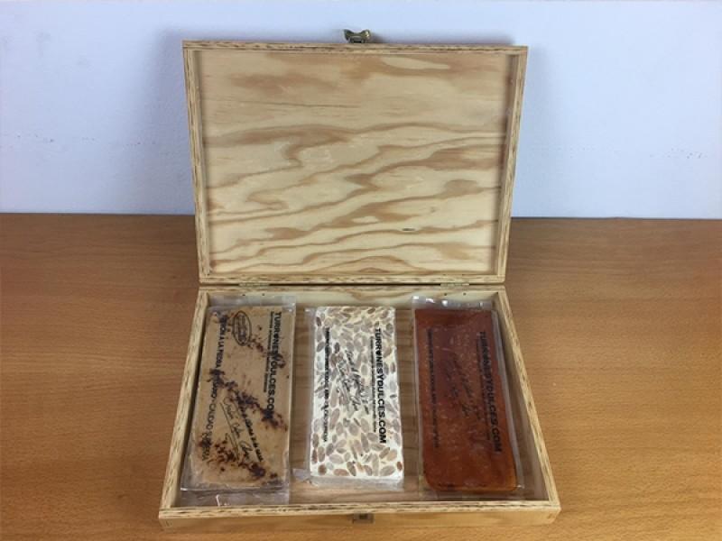 Caja Madera Turrones con tapa formato estuche