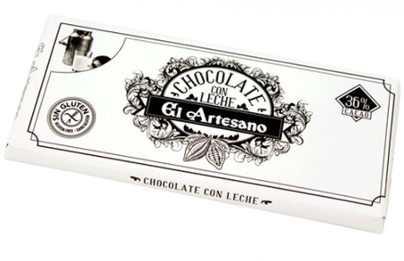 Turron de chocolate con leche 36% marca El Artesano barra de 150 grs