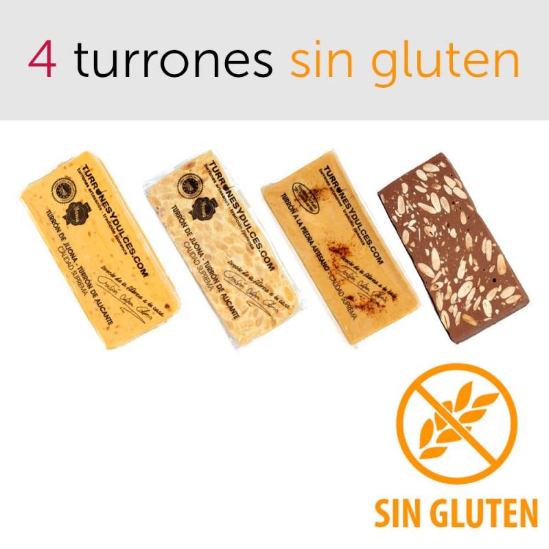 Pack 4 turrones sin gluten Alicante Jijona piedra chocolate con almendras
