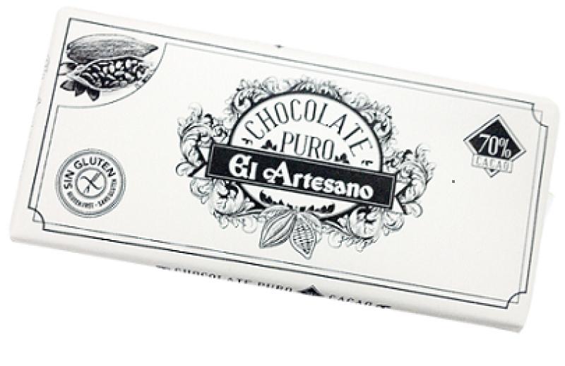Turron de chocolate puro con cobertura 70%cacao    150gr marca El Artesano