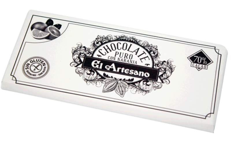 Turron de chocolatecacao 70%  con naranja marca El Artesano 125 grs