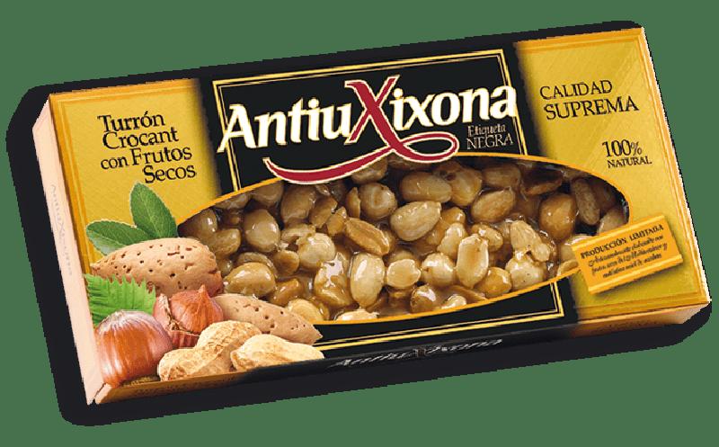 Turrón Crocant con Frutos Secos etiqueta negra Antiu Xixona