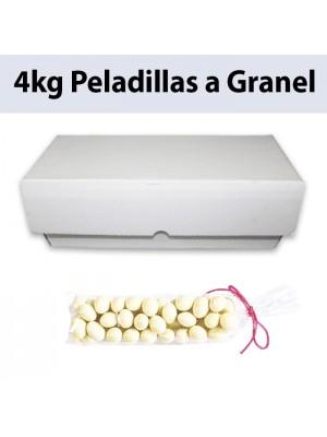 Peladillas blancas de almendra a granel, cajón de 4kg
