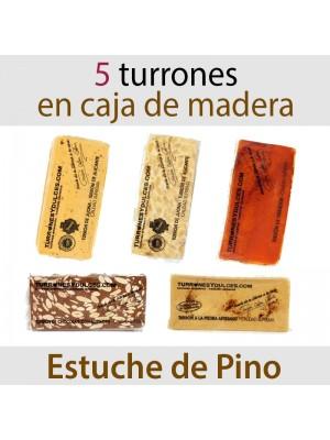 Lote de 5 Turrones en Estuche de Madera