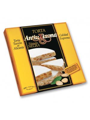 Caja de 18 unidades de Torta de Turrón de Alicante (duro) Antiu Xixona Etiqueta Negra 200g