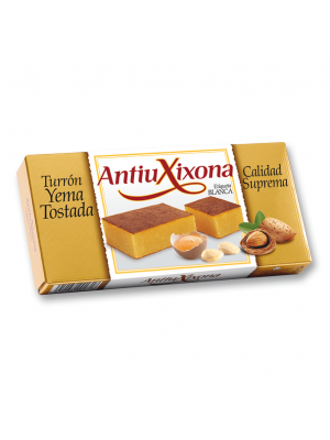 Caja de 12 unidades de Turrón de Yema Tostada Antiu Xixona etiqueta blanca