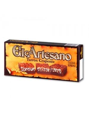 Turrón de chocolate crujiente 200 gr. Calidad suprema - El Artesano