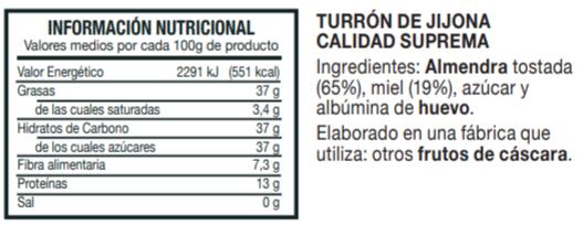 Información Nutricional Turrón de Jijona