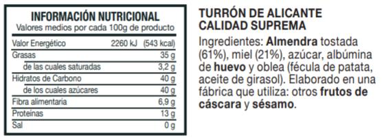 Información Nutricional Turrón de Alicante