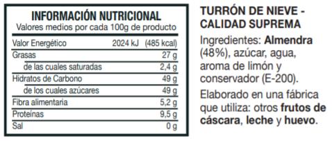 Información Nutricional Turrón de Nieve