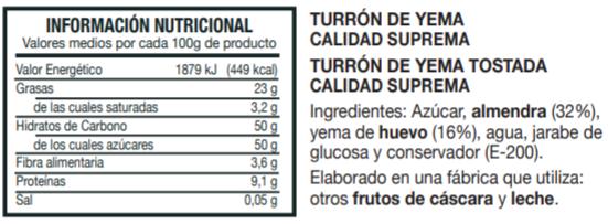 Información Nutricional Turrón de Yema