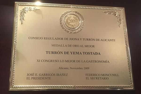 Premio al mejor Turrón de Yema Tostada El Abuelo