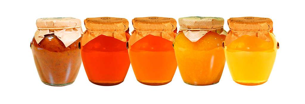 Botes de miel y mermelada